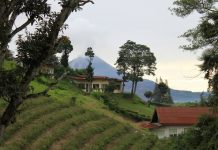 Mount Sinabung seen from Berastagi
